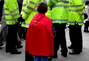 Black & white - Super hero at Trafalgar Square