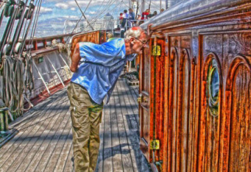 portrait - Ron on the Cutty Sark
